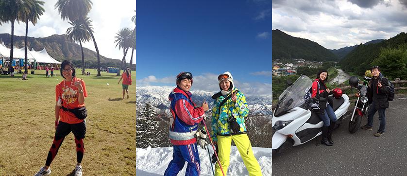 ホノルルマラソンに参加したり(左)、ご主人とのスキー(中央)やキャンプツーリング(右)に出かけるなどアウトドア活動が大好きだといいます