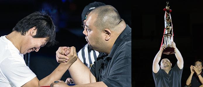村山さんは得意の腕力を生かして、ヤフーグループ内の腕相撲チャンピオンを決めるイベントでは優勝を果たす