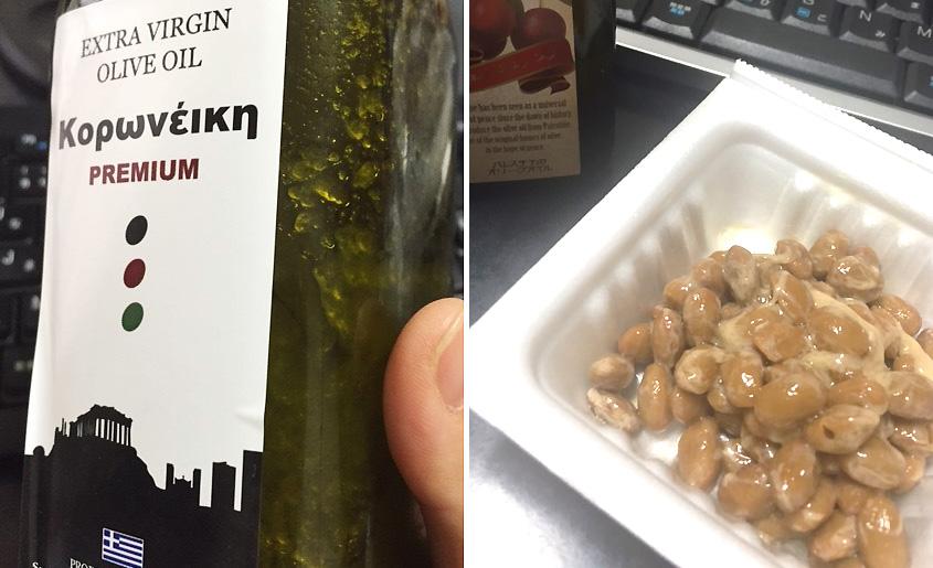 オリーブオイルと納豆の画像