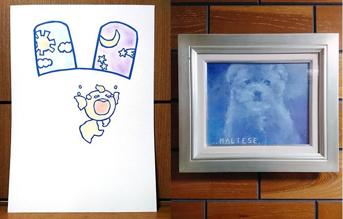 吉田さんが描いた切り絵(左)と油絵。子どもの頃から絵を描くことが好きで、今後は新たな趣味にしたいといいます