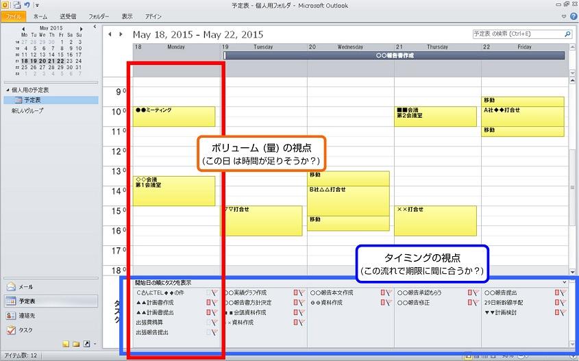 時間管理の予定表イメージ