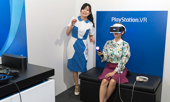 ソニーが設けたPSVR対応ゲームの体験コーナー