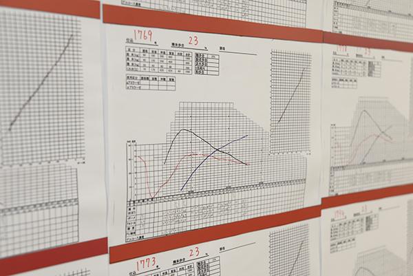 発酵状況を示すグラフ。数値と日数を計算したものを記録する。