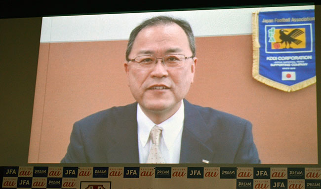 KDDIの田中孝司社長もビデオメッセージで登場