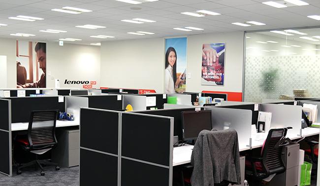 「テレワークデー」で社員がオフィス以外で仕事をしたため閑散とするレノボ本社(東京・千代田)