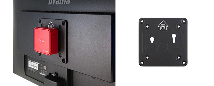 VESAマウントキットを使って液晶ディスプレーの背面に装着もできる