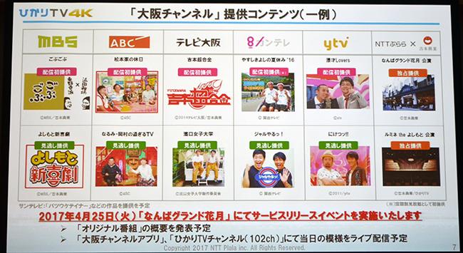 大阪チャンネルのラインアップ