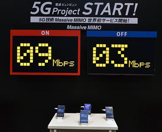 「Massive MIMO(マッシブ マイモ)」を使った通信速度のデモ