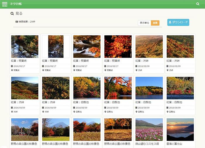 昭文社が導入した社員が写真を投稿できるシステム。画像は桜の写真などのガイド情報を表示したアーカイブスの画面