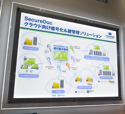ブースに展示された「SecureDoc」の説明パネル